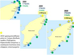 Αποτελέσματα δείκτη Οικολογικής ποιότητας ΒΕΝΤΙΧ (έτη 2004 – 2009 - 2010)